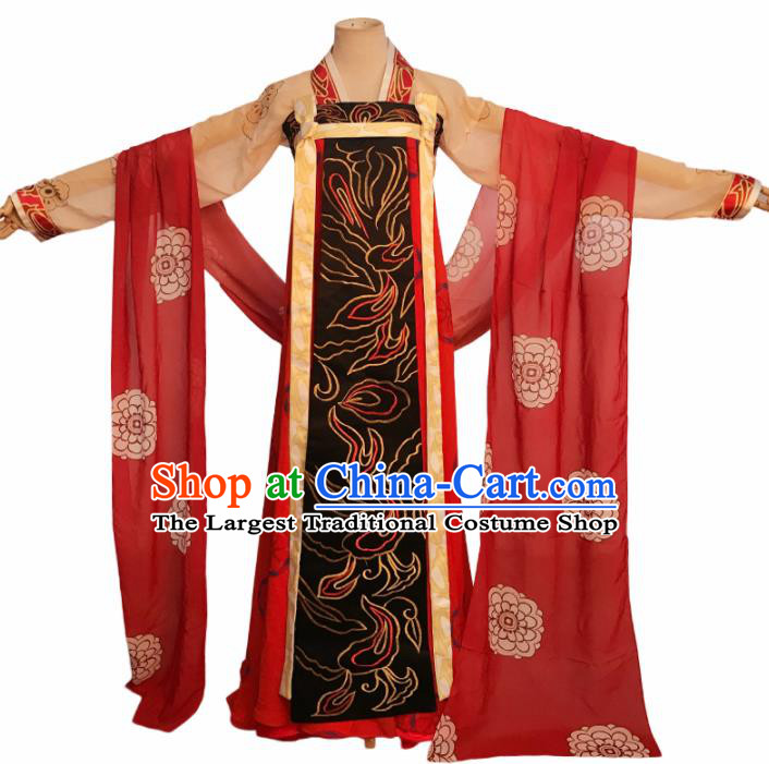 Chinese Tang Dynasty Imperial Consort Embroidered Costume Ancient Fairy Hanfu Dress for Women