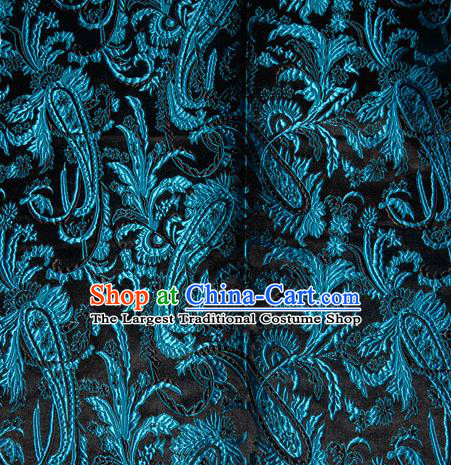 Chinese Traditional Silk Fabric Tang Suit Brocade Cheongsam Palace Blue Pattern Cloth Material Drapery