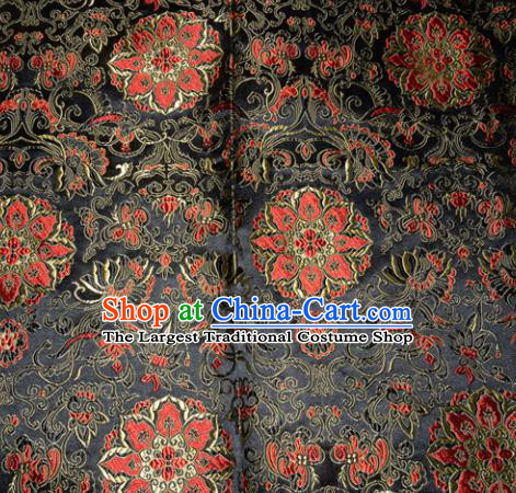 Chinese Traditional Silk Fabric Tang Suit Black Brocade Cheongsam Palace Pattern Cloth Material Drapery