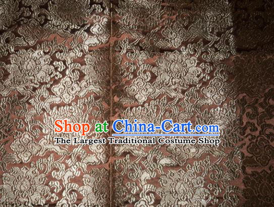 Chinese Traditional Silk Fabric Tang Suit Brown Brocade Cheongsam Classical Pattern Cloth Material Drapery