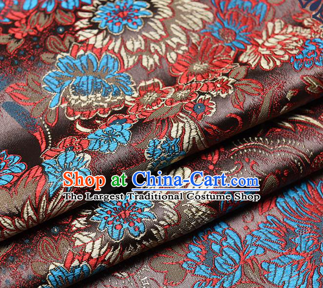 Chinese Traditional Tang Suit Brown Brocade Fabric Peony Pattern Silk Cloth Cheongsam Material Drapery