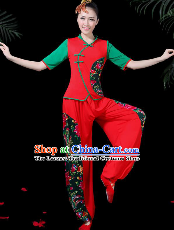 Chinese Classical Fan Dance Red Costume Traditional Folk Dance Yangko Clothing for Women