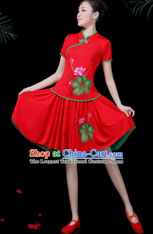 Chinese Classical Lotus Dance Red Costume Traditional Folk Dance Yangko Clothing for Women
