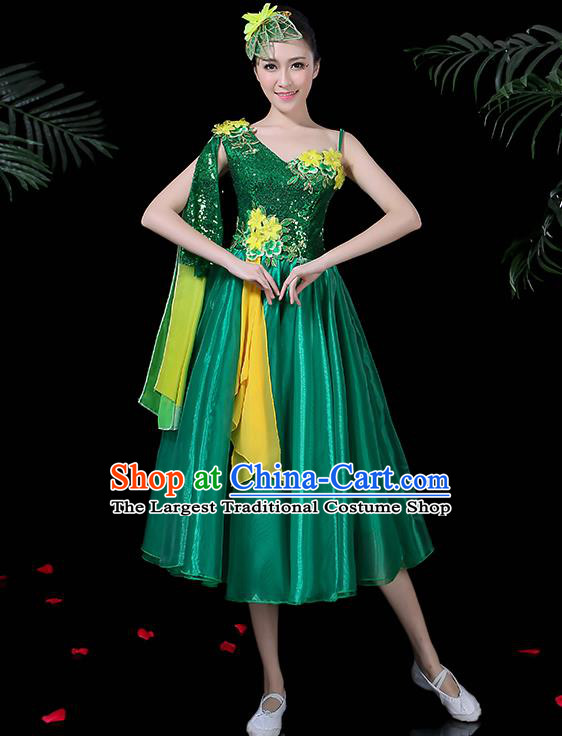 Professional Opening Modern Dance Costume Stage Performance Chorus Green Dress for Women