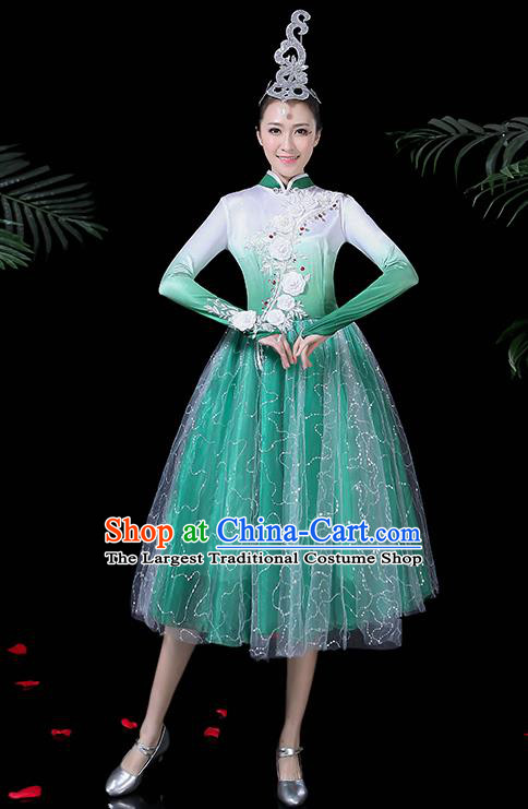 Professional Umbrella Dance Modern Dance Costume Stage Performance Chorus Green Dress for Women