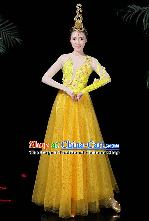 Chinese Classical Dance Yellow Long Dress Traditional Folk Dance Fan Dance Clothing for Women