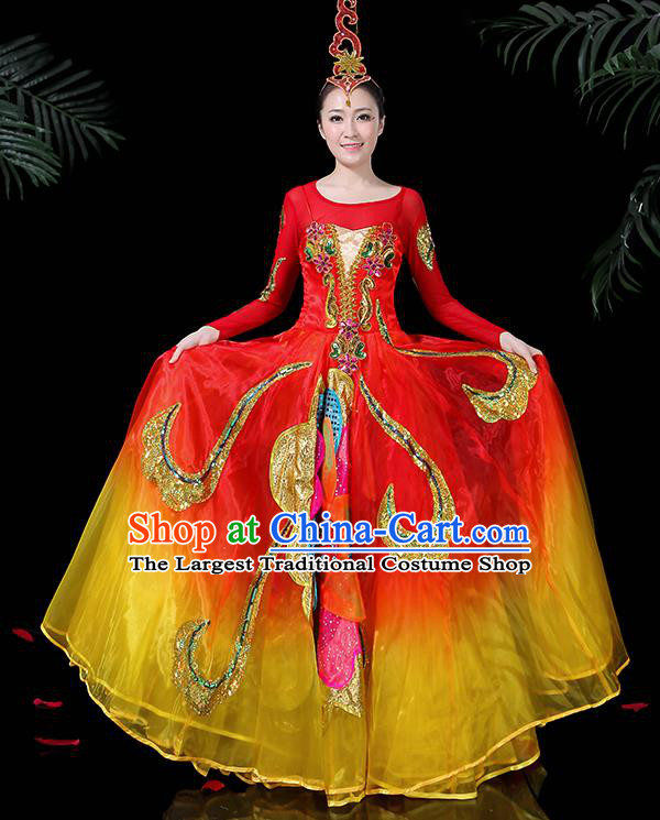 Professional Dance Modern Dance Costume Stage Performance Chorus Big Swing Dress for Women