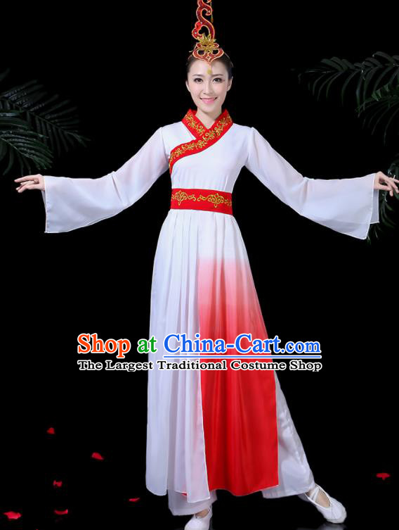 Chinese Classical Dance Yangko White Costume Traditional Folk Dance Fan Dance Clothing for Women