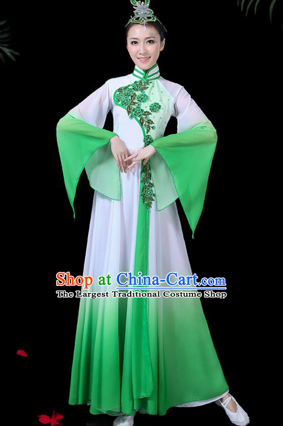 Chinese Classical Dance Costume Traditional Umbrella Dance Fan Dance Green Dress for Women