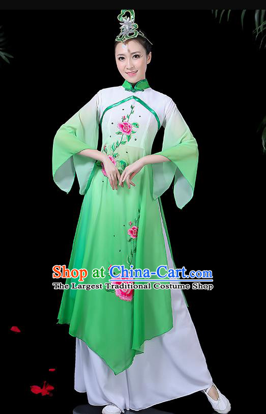 Chinese Classical Dance Umbrella Dance Costume Traditional Fan Dance Green Dress for Women