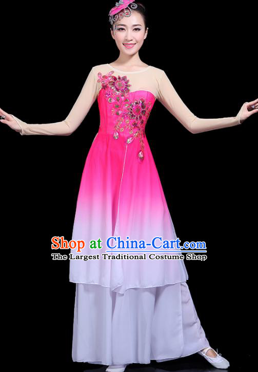 Traditional Classical Jasmine Flower Dance Pink Dress Chinese Folk Dance Umbrella Dance Costume for Women