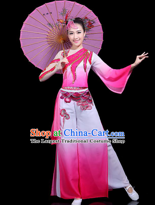 Traditional Classical Dance Rosy Clothing Chinese Folk Dance Umbrella Dance Costume for Women