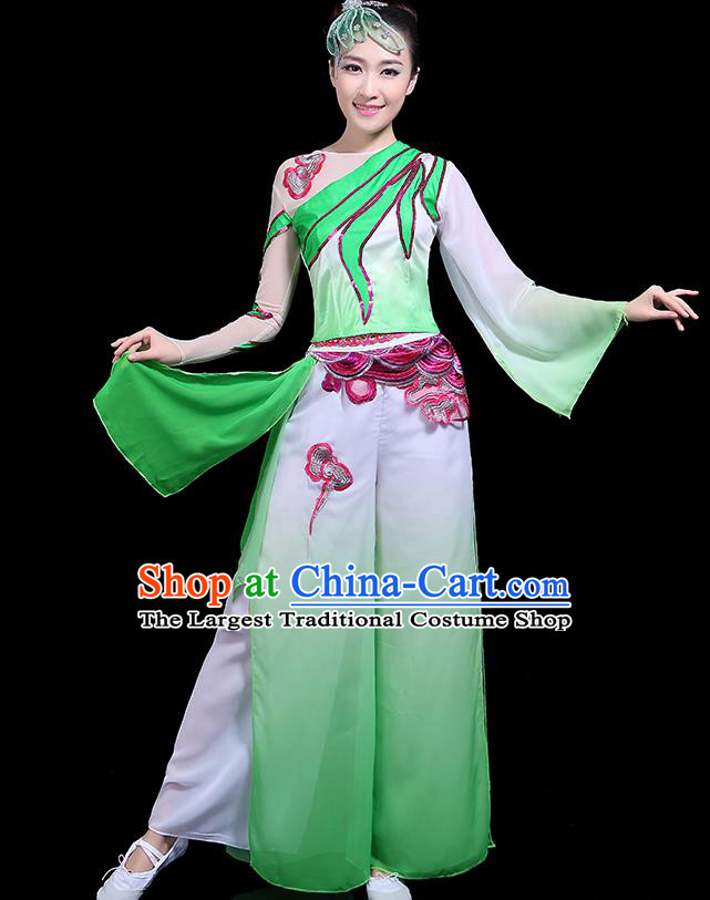 Traditional Classical Dance Green Clothing Chinese Folk Dance Umbrella Dance Costume for Women
