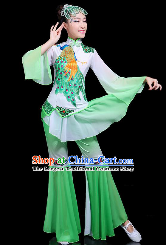 Traditional Classical Dance Yangge Green Clothing Chinese Folk Dance Umbrella Dance Costume for Women