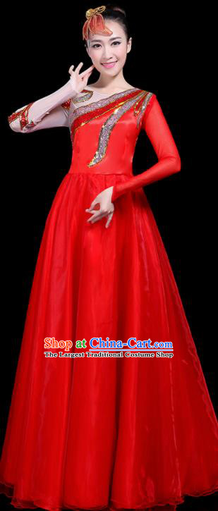 Professional Dance Modern Dance Costume Stage Performance Chorus Red Long Dress for Women