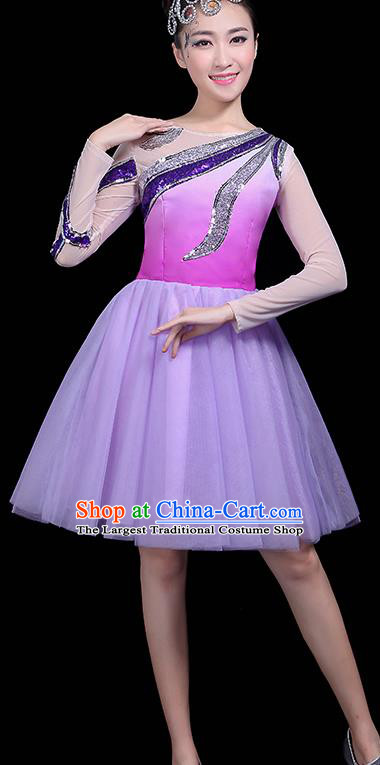 Professional Dance Modern Dance Purple Bubble Dress Stage Performance Chorus Costume for Women