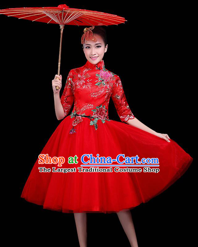 Professional Dance Modern Dance Red Dress Stage Performance Chorus Costume for Women