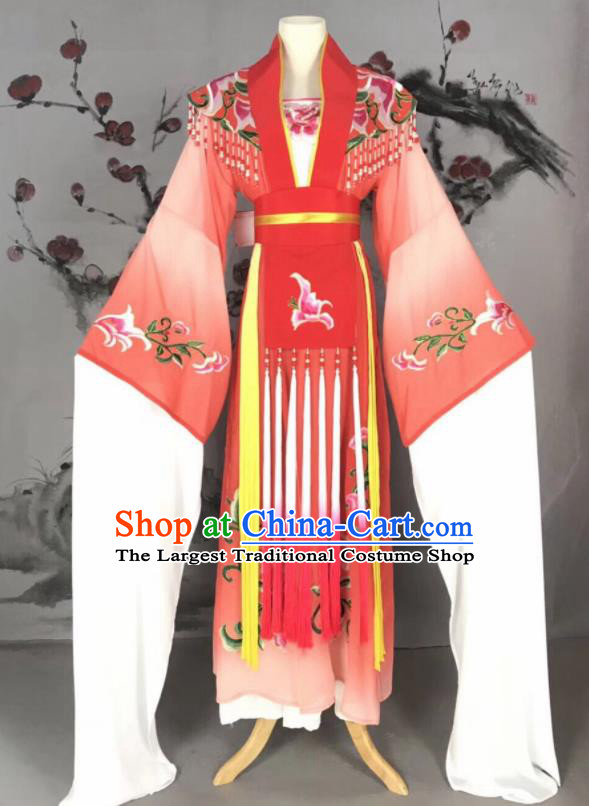 Chinese Traditional Beijing Opera Princess Red Hanfu Dress Peking Opera Diva Water Sleeve Costume for Adults