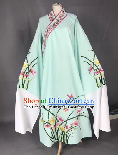 Chinese Traditional Beijing Opera Scholar Embroidered Orchid Green Robe Peking Opera Niche Costume for Adults