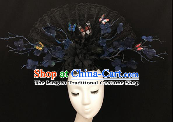 Top Halloween Black Lace Hair Accessories Stage Show Chinese Traditional Catwalks Headpiece for Women