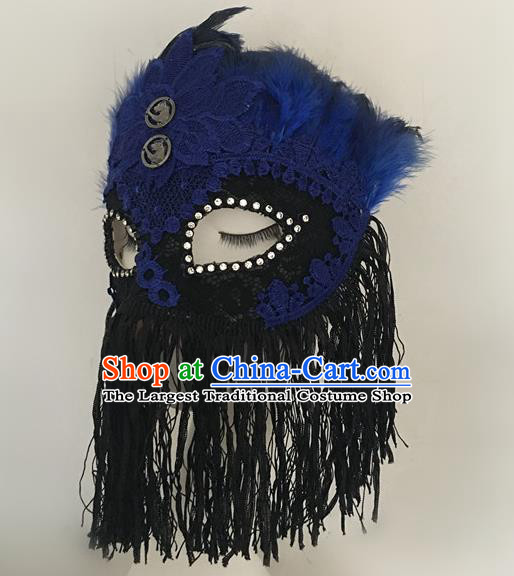 Top Halloween Stage Show Accessories Blue Feather Tassel Mask Brazilian Carnival Catwalks Face Masks