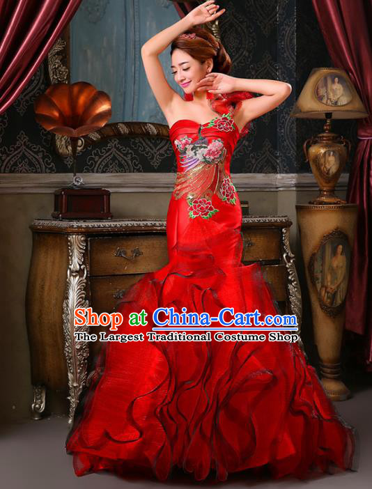 Chinese Traditional Qipao Dress Classical Costume Red Full Dress for Women