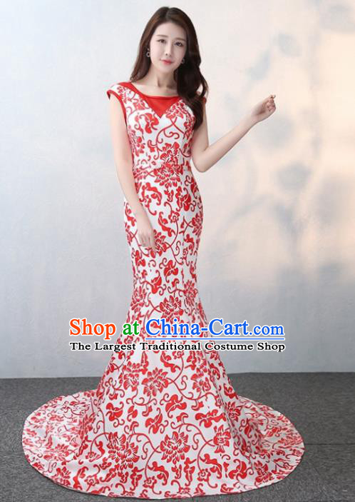 Chinese Traditional Elegant Qipao Dress Classical Costume Printing Lotus Cheongsam for Women