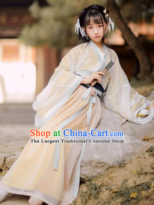 Chinese Jin Dynasty Women Silk Hanfu Dress Ancient Historical Costumes Complete Set