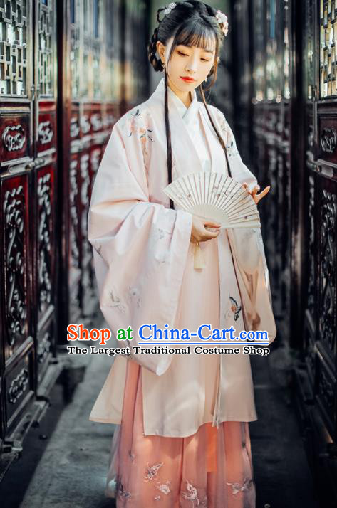 Traditional Chinese Ming Dynasty Princess Embroidered Historical Costumes Ancient Nobility Lady Hanfu Dress for Women