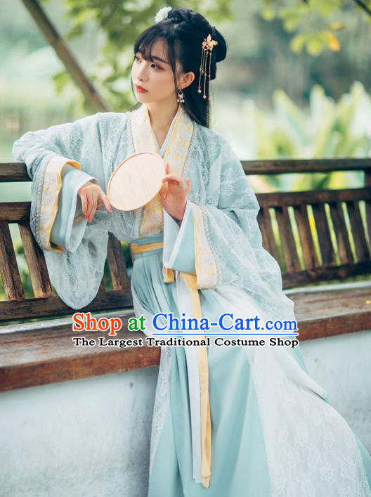 Traditional Chinese Jin Dynasty Princess Embroidered Historical Costumes Ancient Hanfu Dress for Women