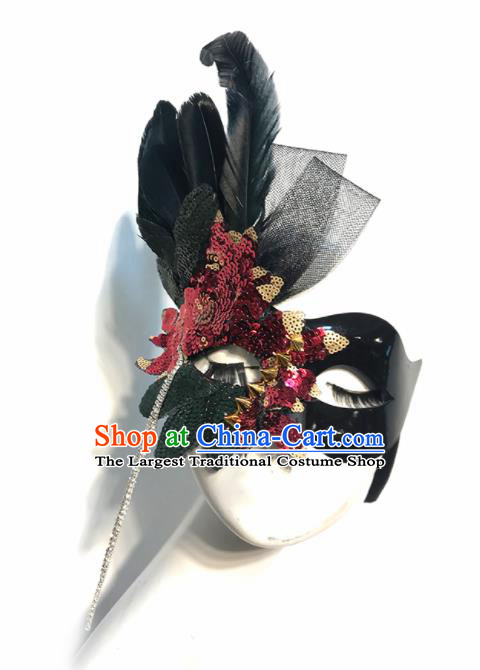 Top Halloween Cosplay Feather Masks Brazilian Carnival Catwalks Red Sequins Face Mask for Women