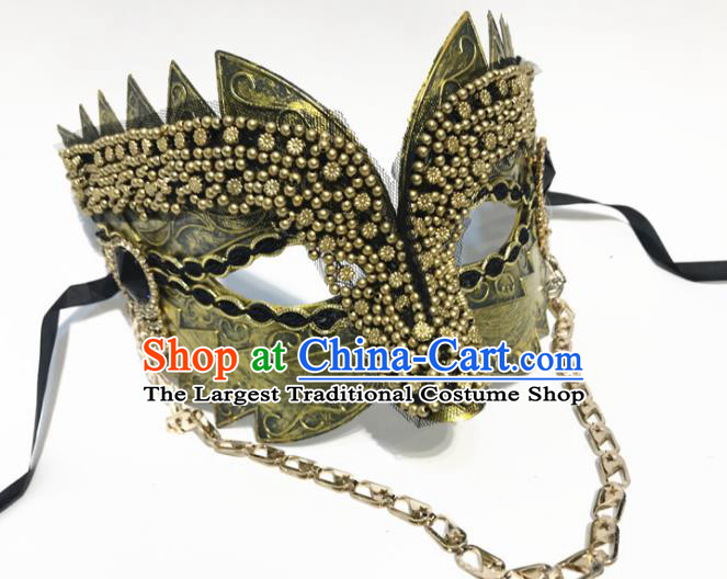 Top Halloween Cosplay Golden Masks Brazilian Carnival Catwalks Fancy Dress Ball Face Mask for Men