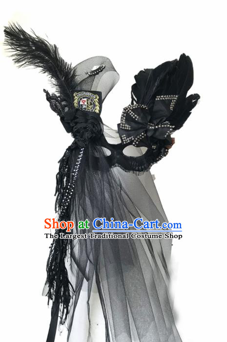 Top Fancy Dress Ball Black Feather Veil Masks Brazilian Carnival Halloween Cosplay Face Mask for Women
