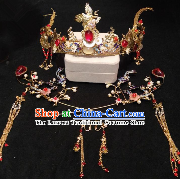 Top Chinese Traditional Wedding Crane Phoenix Coronet Classical Hairpins Headdress for Women