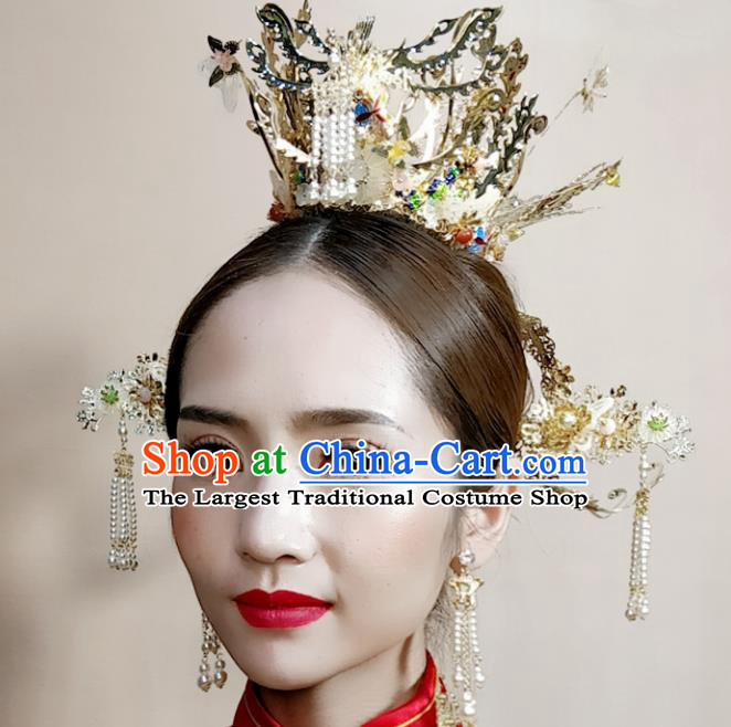 Top Chinese Traditional Palace Hair Accessories Ancient Golden Phoenix Coronet Hairpins Complete Set for Women