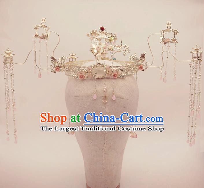 Top Chinese Traditional Wedding Hair Accessories Ancient Crystal Tassel Phoenix Coronet Hairpins Complete Set for Women