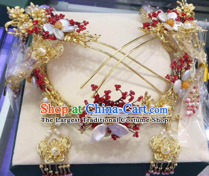 Top Chinese Traditional Wedding Hair Accessories Ancient Palace Golden Phoenix Coronet Hairpins Complete Set for Women