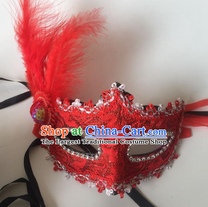 Top Grade Halloween Red Lace Mask Fancy Ball Cosplay Feather Face Masks for Women