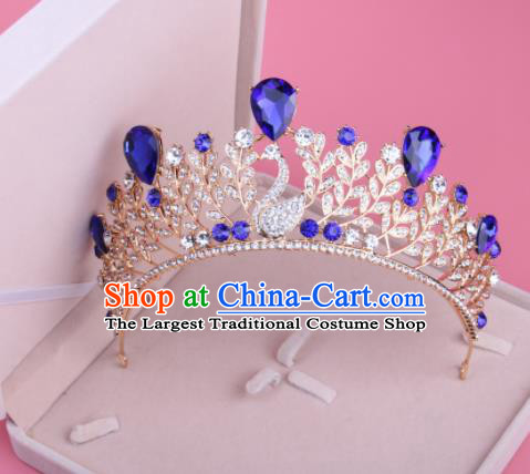 Top Grade Baroque Hair Accessories Catwalks Princess Blue Crystal Swan Royal Crown for Women