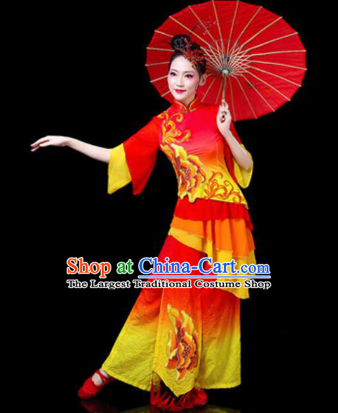 Chinese Traditional Folk Dance Costumes Fan Dance Yangko Group Dance Red Dress for Women