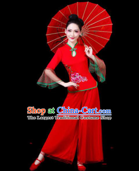 Chinese Traditional Folk Dance Costumes Fan Dance Yangko Drum Dance Red Mandarin Sleeve Clothing for Women