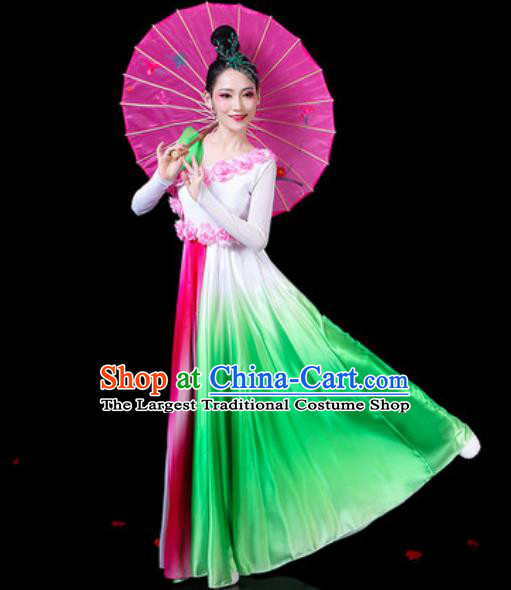 Chinese Classical Fan Dance Green Dress Traditional Chorus Umbrella Dance Costumes for Women