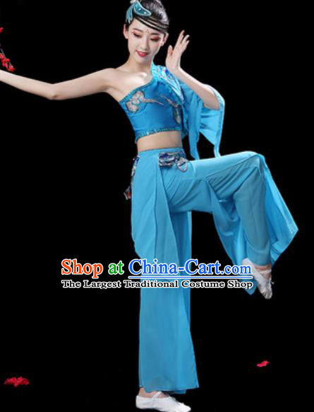Traditional Chinese Folk Dance Single Sleeve Costumes Fan Dance Yangko Dance Blue Clothing for Women