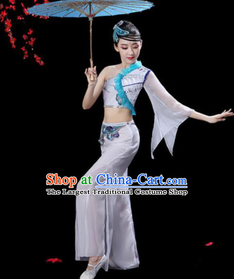 Traditional Chinese Folk Dance Single Sleeve Costumes Fan Dance Yangko Dance White Clothing for Women