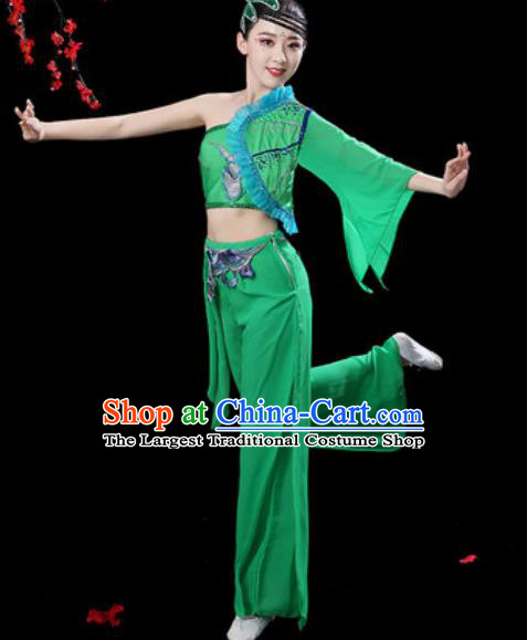 Traditional Chinese Folk Dance Single Sleeve Costumes Fan Dance Yangko Dance Green Clothing for Women