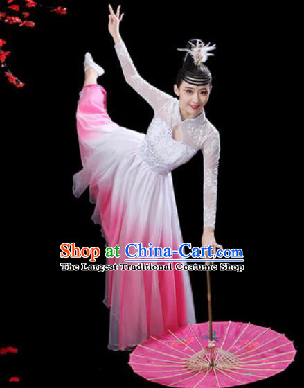 Chinese Classical Dance Chorus Pink Dress Traditional Umbrella Dance Fan Dance Costumes for Women