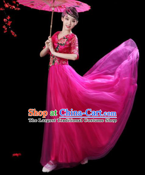 Professional Modern Dance Stage Show Costumes Chorus Group Dance Rosy Dress for Women