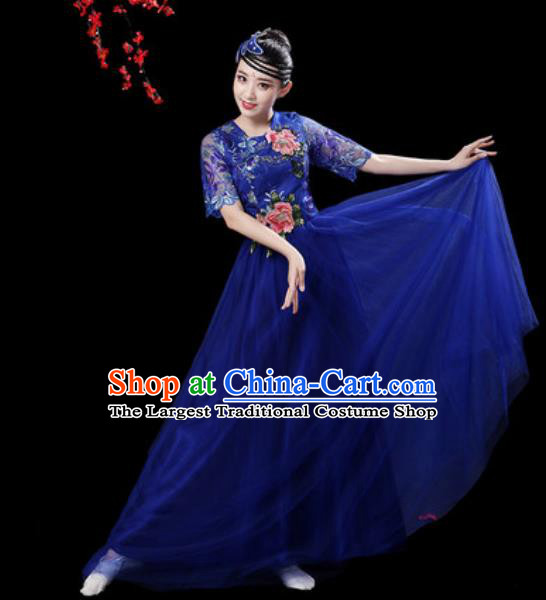 Professional Modern Dance Stage Show Costumes Chorus Group Dance Royalblue Dress for Women
