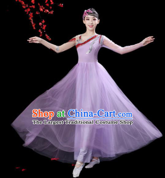 Professional Modern Dance Costumes Stage Show Chorus Group Dance Lilac Dress for Women