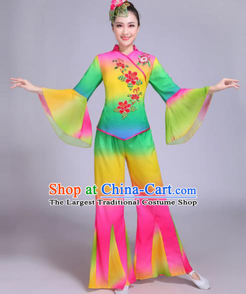 Chinese Traditional Yangko Dance Group Dance Colorful Costumes Folk Dance Fan Dance Clothing for Women